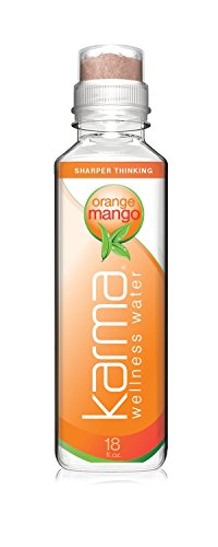 Karma Wellness Flavored Water, Orange Mango, 18 Fl Oz (Pack of 12), Natural Lift, Low Calorie, Refreshing Vitamin Flavored Water with Antioxidants