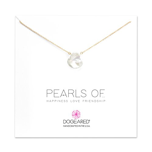 Dogeared Pearls of Happiness Love Friendship Large Keshi Pearl Gold Filled Chain Necklace, 18