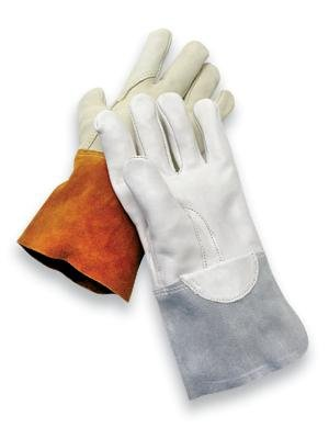 Radnor(R) Large Gray Unlined Economy Calf Skin MIG/TIG Welders Glove With 4