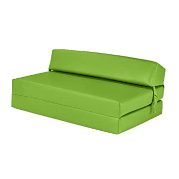 Pleasant Lime Green Faux Leather Double Fold Out Foam Z Bed Guest Caraccident5 Cool Chair Designs And Ideas Caraccident5Info