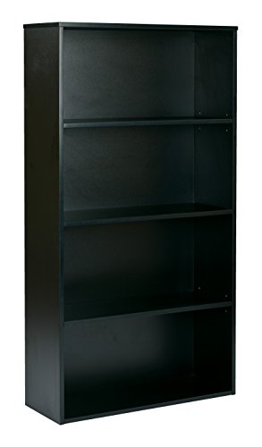 Pro-Line II / OSP Designs Prado 4-Shelf Bookcase with 3/4-Inch Shelves and 2 Adjustable/2 Fixed Shelves, 60-Inch, Black
