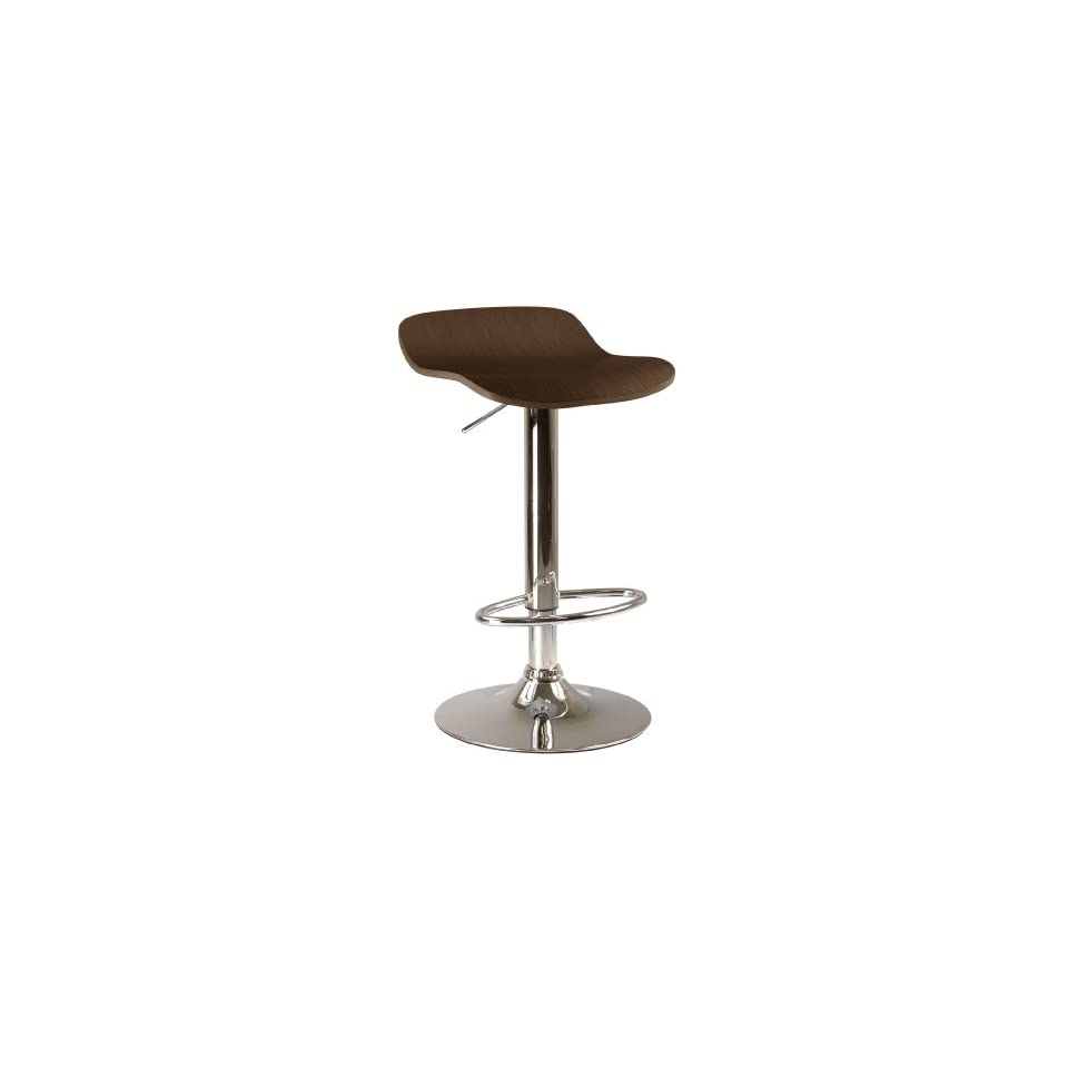 Kallie set of 2 Air Lift Adjustable Stool, Natural Wood Veneer Top and Metal Base
