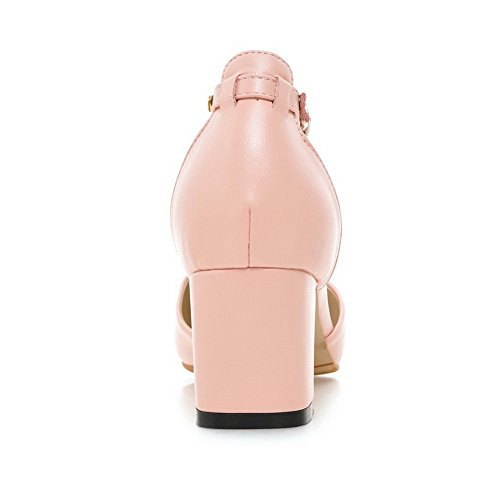 1TO9 Womens Chunky Heels Metal Buckles Pointed-Toe Low-Cut Uppers Pink Leather Sandals MMS03880-5.5 UK hEt2i