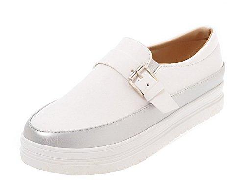 AgooLar Damen PU Gemischte Farbe Rund Zehe Niedriger Absatz Pumps Schuhe Silber