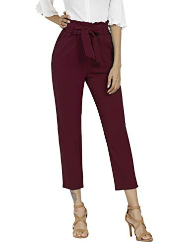 (Freeprance Women's Pants Casual Trouser Paper Bag Pants Elastic Waist Slim Pockets WRE_S Wine Red)