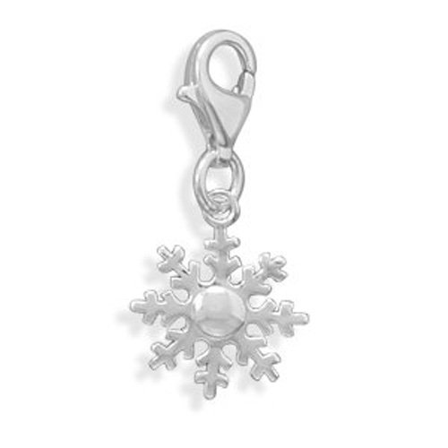 Snowflake Charm in polished silver. Winter Jewelry. Snow Jewlery. Winter Necklace. Layered Jewelry. Layering -
