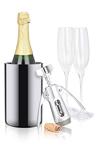 Modern Innovations Insulated Wine Chiller – Keeps Wine and Champagne Cold Longer – Opening 4.25″ Wide to Fit All 750 ml Bottles (Stainless Steel)