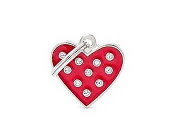 Médaille MyFamily Coeur Strass Rouge plaque chien gravure gratuite coutume chat
