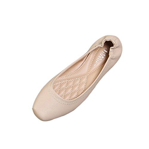 YIBLBOX Women's Casual Square Toe Basic Comfort Slip On Ballet Ballerina Flat Shoes apricot It6IPT7WRR