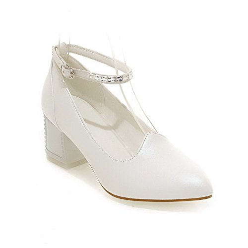 AllhqFashion Womens PU Solid Buckle Pointed Closed Toe Kitten-Heels Pumps-Shoes White MWI3X