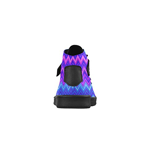 D-Story Round Toe High Top Shoes Blue Chevron Tribal Pattern Womens Sneakers kDeUYA