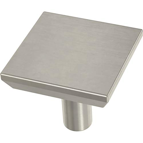Franklin Brass P40847K-SN-C Simple Chamfered Square Kitchen or Furniture Cabinet Hardware Drawer Handle Knob, 1-1/8-Inch (29mm), Satin Nickel, 10-Pack