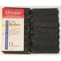 "Annie Salon Style Small Foam Hair Rollers - 5/8"" Black - 14 Piece Set - Soft Heat-less Hair Curling Tools"