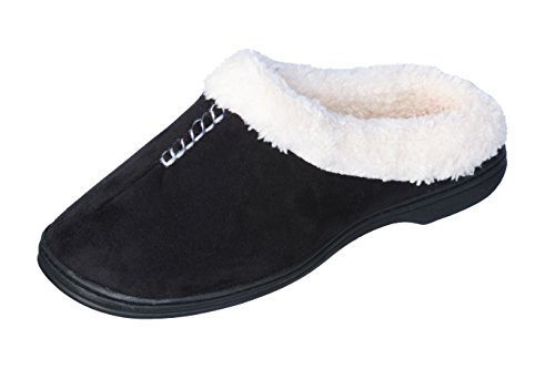 Joan Vass Comfort Women Quilted Faux Suede Fleece Lined Slipper Closed Toe Clog Indoor and Outdoor Shoes (Small, Black) (Outdoor Cabana Beds Sale For)