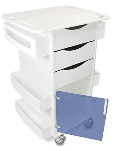 "TrippNT 51416 Polyethylene/ABS Locking Core DX Multi-Tasking Medical Cart with Blue PETG Hinged Door, 23"" Width x 35"" Height x 19"" Depth, White"