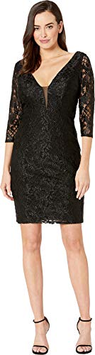 (Marina Women's Short Slim Princess Lace Dress with Illusion Plunging Neckline and Long Sleeves Black 6 )