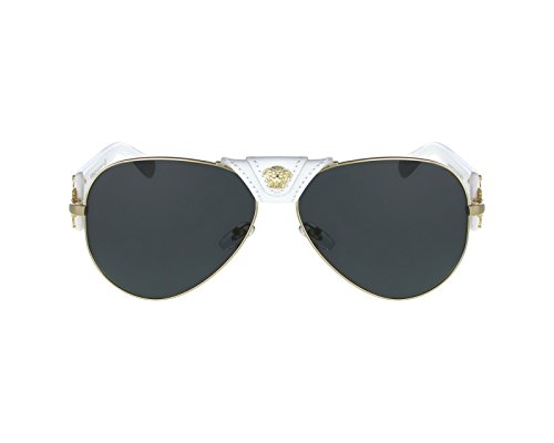 Versace Women's 0VE2150Q 1341/87 Medusa Aviator Sunglasses, White/Grey ()