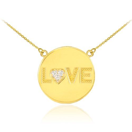 Dainty 14k Yellow Gold Diamond Heart Charm Love Disc Pendant Necklace, 18
