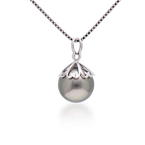 18' Round Box Chain - Paialco Dainty 18k White Gold Cultured Tahitian Black Pearl Pendant 9-10MM