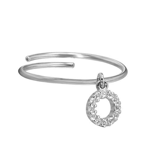 Meow Star Delicate Circle Ring Sterling Silver Round Cz Dangle Charm Ring Adjustable (silver)