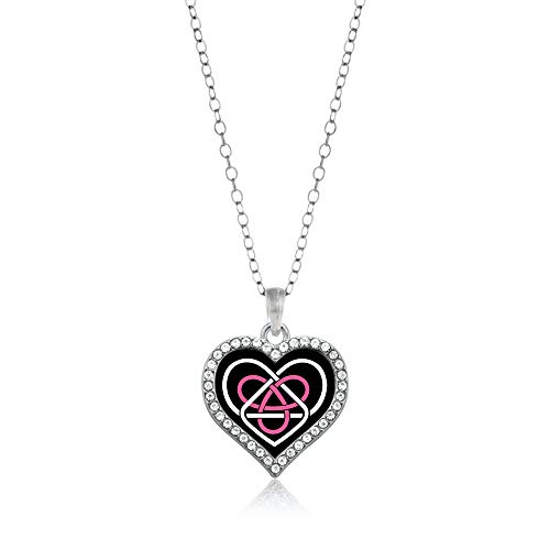 Inspired Silver - Celtic Sisters Knot Charm Necklace for Women - Silver Open Heart Charm 18 Inch Necklace with Cubic Zirconia Jewelry