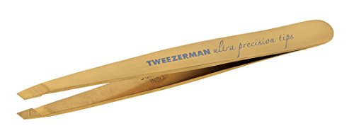 (Tweezerman Studio Collection Ultra Precision Series Titanium Nitride Coated Slant, Gold)