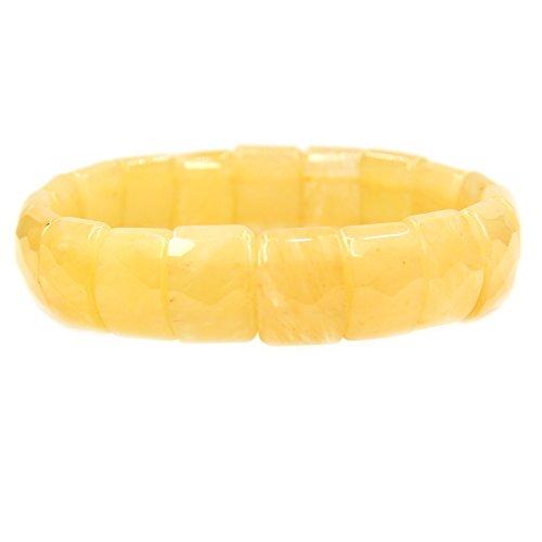 Amandastone Natural Topaz Genuine Semi Precious Gemstone 15mm Square Grain Faceted Beaded Stretchable Bracelet 7