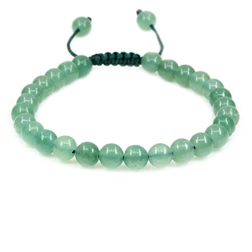 - Natural Green Aventurine Gemstone 6mm Round Beads Adjustable Bracelet 7