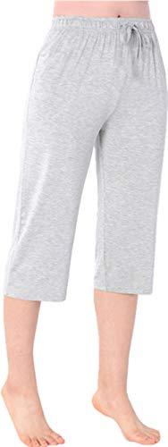 Pajama Bottoms Capri - Nuosha-BABY Womens Pajama Capri Pants Soft Sleepwear Bottoms with Big Pockets Grey XS