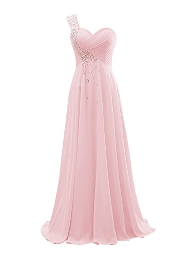 NOVIA Women's One-Shoulder Sequin Long Prom Celebrity Dresses Sweetheart Ruched Chiffon Long Maxi Wedding Formal Party Gowns Baby Pink 14