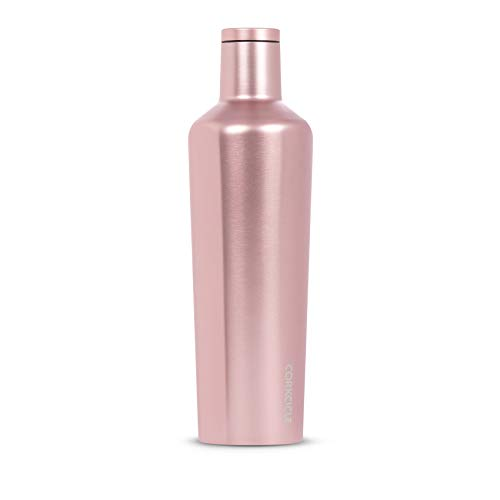 Corkcicle Canteen Classic Collection - Water Bottle & Thermos - Triple Insulated Shatterproof Stainless Steel, Rosé Metallic, 25oz