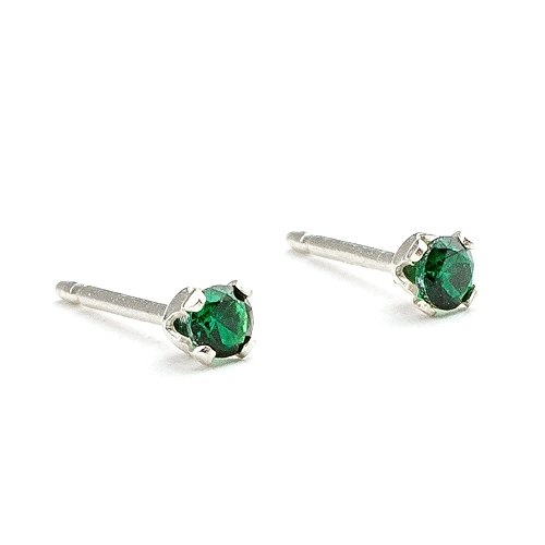 3mm Tiny Green Emerald Gemstone Stud Earrings in Sterling Silver – May Birthstone