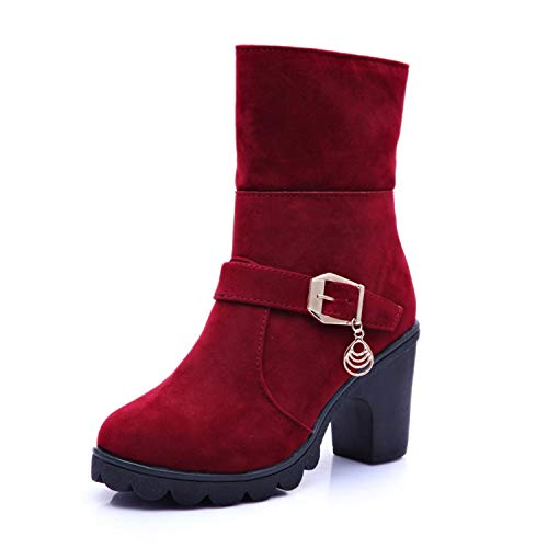 New 2018 Winter High Heel Boots Warm Plush Square Heels Ladies Fashion Brand Ankle Snow Boots A056,Red 02,8