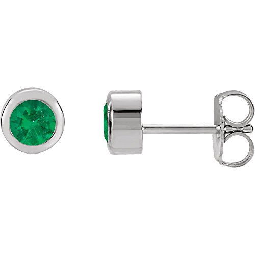 14k White Gold Chatham Created Emerald (Chatham Created Emerald Earrings)