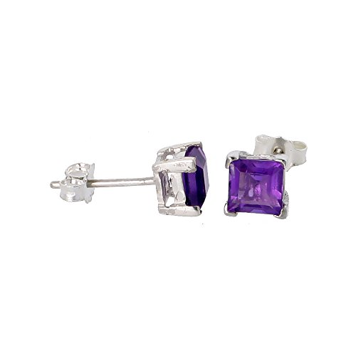 Square Princess Cut Natural (February Birthstone, Natural Amethyst 3/4 Carat (5 mm) Size Princess Cut Square Stud Earrings in Sterling Silver Basket Setting)