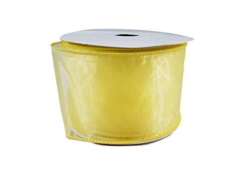 (Organza Wired Edge Sheer Ribbon for Gift Wrapping, Bows, Wedding Favors, Party Decorating and Crafts, 2.5 Inches by 25 feet (Yellow))