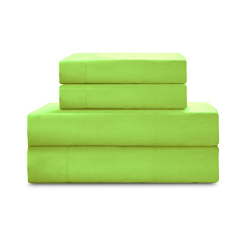 HollyHOME 1500 Soft Hypoallergenic Brushed Microfiber Bed Sheet Set, 4 Pieces Full Size Sheets, Lime Green Lime Green Sheet Set