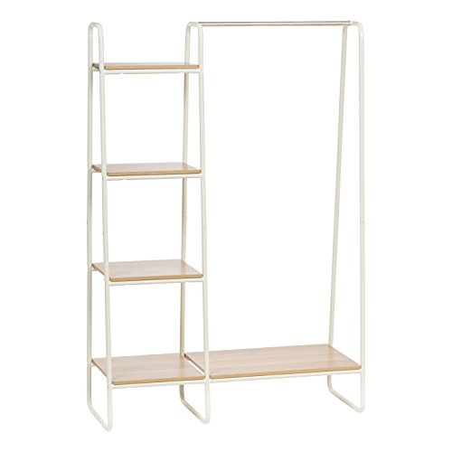 (IRIS Metal Garment Rack with Wood Shelves, White and Light)