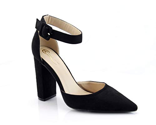 FOREVER VOGUE Women's Chunky Block High Heel Pump Sandals Ankle Strap Closed Pointy Toe D'Orsay Shoes