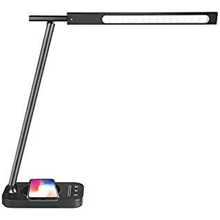 LED Desk Lamp with 10W Fast Qi Wireless Charger, Compatible with i-Phone Samsung Galaxy Phones and Note/pad, 3 Color Modes Dimmable Reading Table Lamp, Touch Control with USB Charging Port