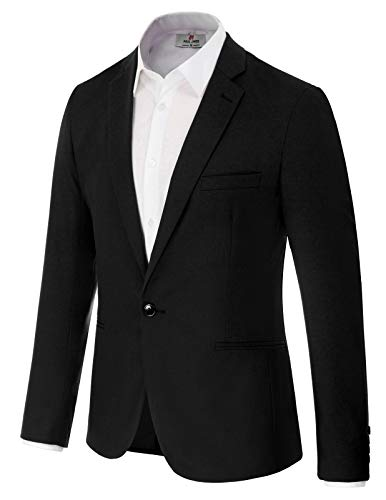 Men's Casual One Button Slim Fit Blazer Jacket Sport Coat Size M Black