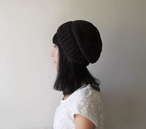 - Bitter Chocolate Slouchy Beanie, Brown Hand Knit Chunky Slouch Hat, Women Knit Hat, Winter Accessories, Wool Blend, For Her, Made to Order