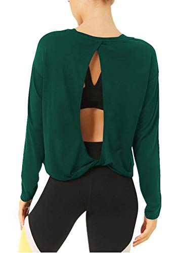 Bestisun Fall Winter Clothes Yoga Workout Shirts Long Sleeve Athletic Shirts Sports Exercise Tops Cute Activewear for Women Deep Green S (Best Maternity Wear Websites)