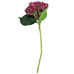 EZFLOWERY 5 Pcs Artificial Silk Hydrangeas Flowers Bouquet Arrangement, for Home Decor, Wedding, Office, Room, Hotel, Event, Party Decoration (Violet Red) 2