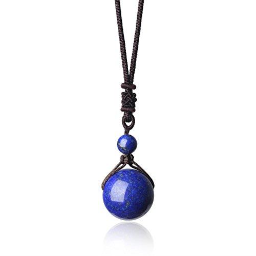 Genuine Precious Stone (COAI Genuine Lapis Lazuli Round Beads Semi Precious Stones Adjustable Cord Necklace)