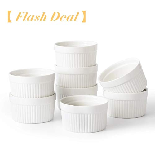 6 oz Ramekin Set of 8 Serving Bowl for Souffle Creme Brulee and Dipping Sauces Porcelain - 3.5 Inch Porcelain White