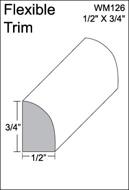 "Flexible Moulding - Flexible Base Shoe Moulding - WM126 - 1/2"" X 3/4"" - 8' Length - Flexible Trim from Resinart East, Inc"