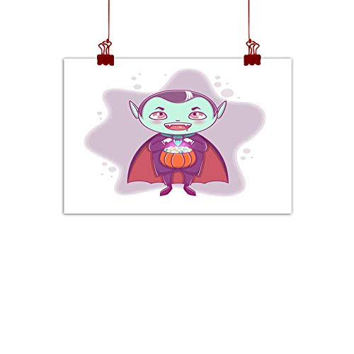 duommhome Abstract Painting Halloween Little Vampire Dracula Boy Kid with Smiling face in Halloween Costume with Pumpkin in his Hands Abstract Painting 24