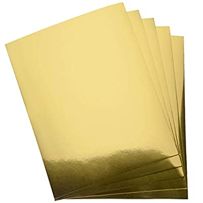 """Metallic Gold Paper Cardstock Stationary Sheets 60 Pack Printable Golden Foil Board for Flowers Scrapbook Crafts Wedding Invitations Printing & Office Supplies, 250gsm Cardboard Letter Size 8.5"""" x 11"""""""