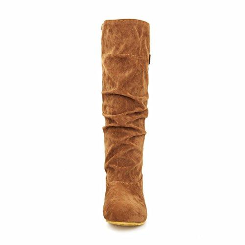 Invierno de botas Otoño de alta damas botas de Clásico e gamuza yellow cilindro botas HxIPR